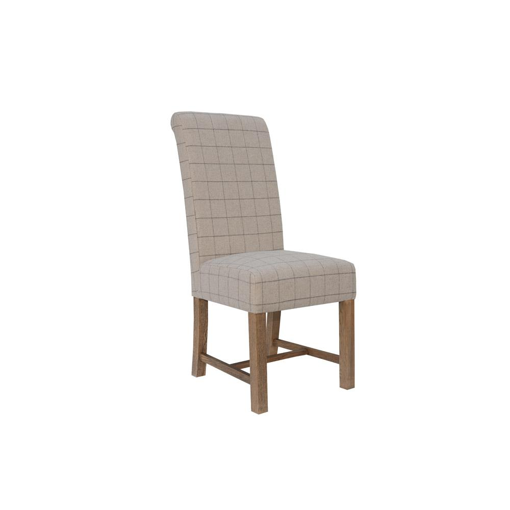 Fabric Dining Chair - Check Natural