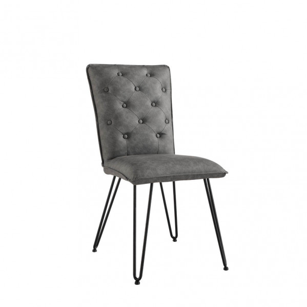 Studded Back Chair with Hairpin Legs - Light Grey