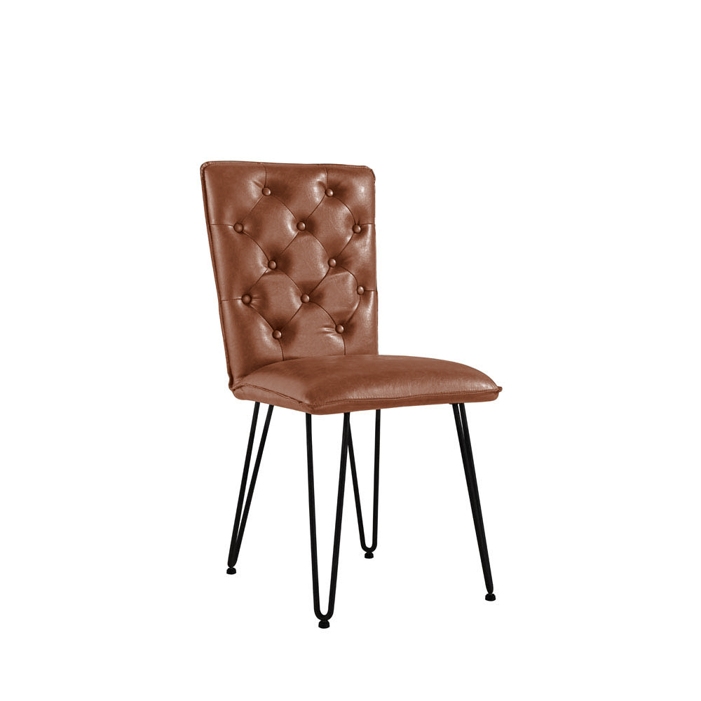 Studded Back Chair with Hairpin Legs - Tan