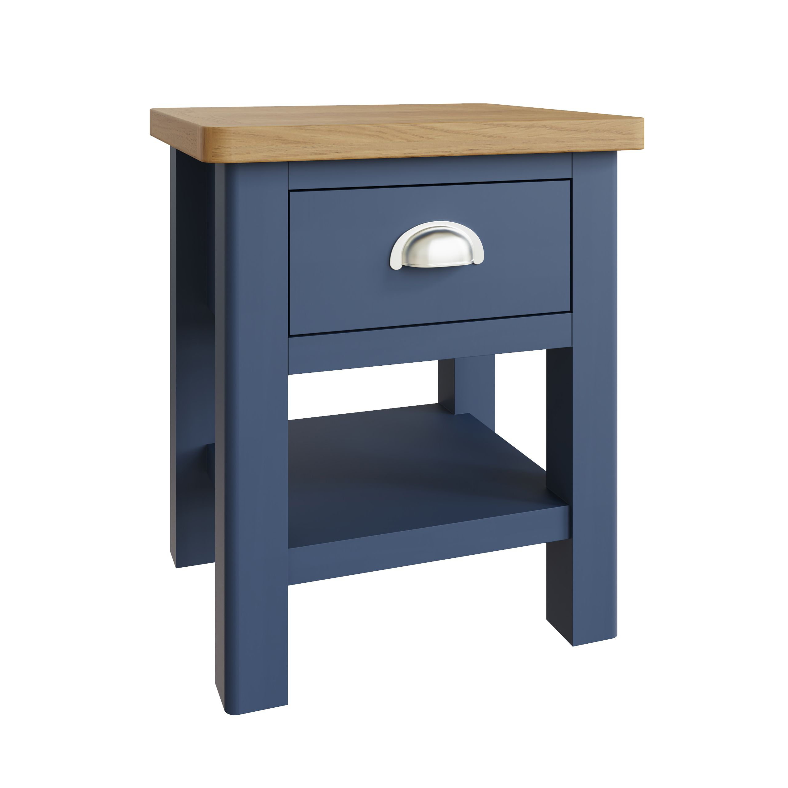 RAYWELL Painted 1 Drawer Lamp Table (Blue)