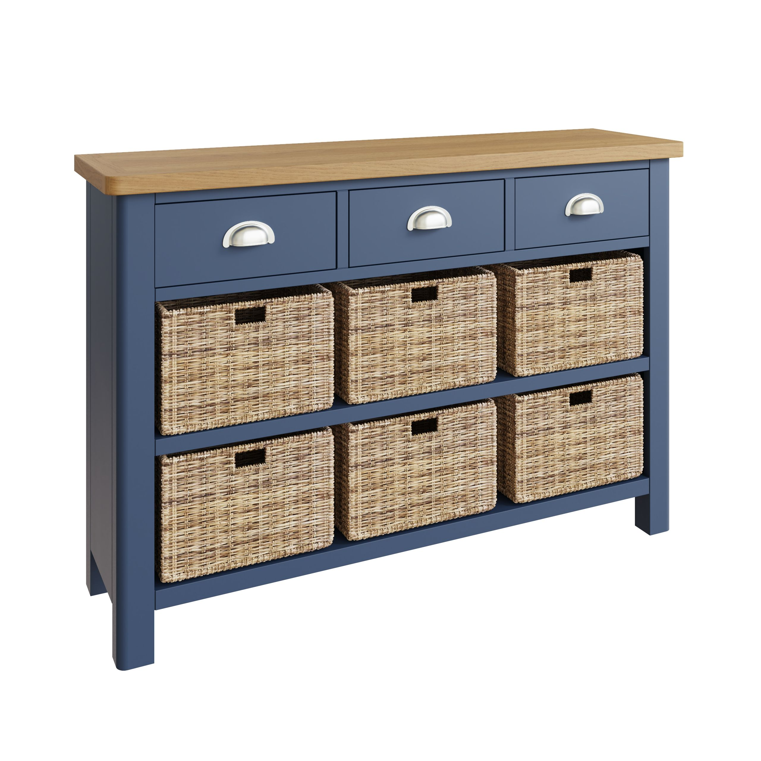 RAYWELL Painted 3 Drawer 6 Basket (Blue)