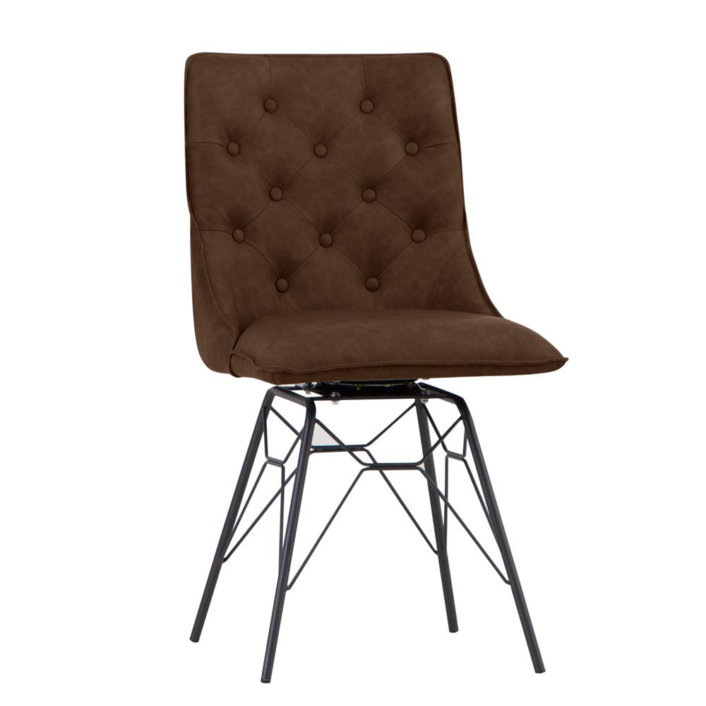 Studded Back Chair with Ornate Legs - Brown
