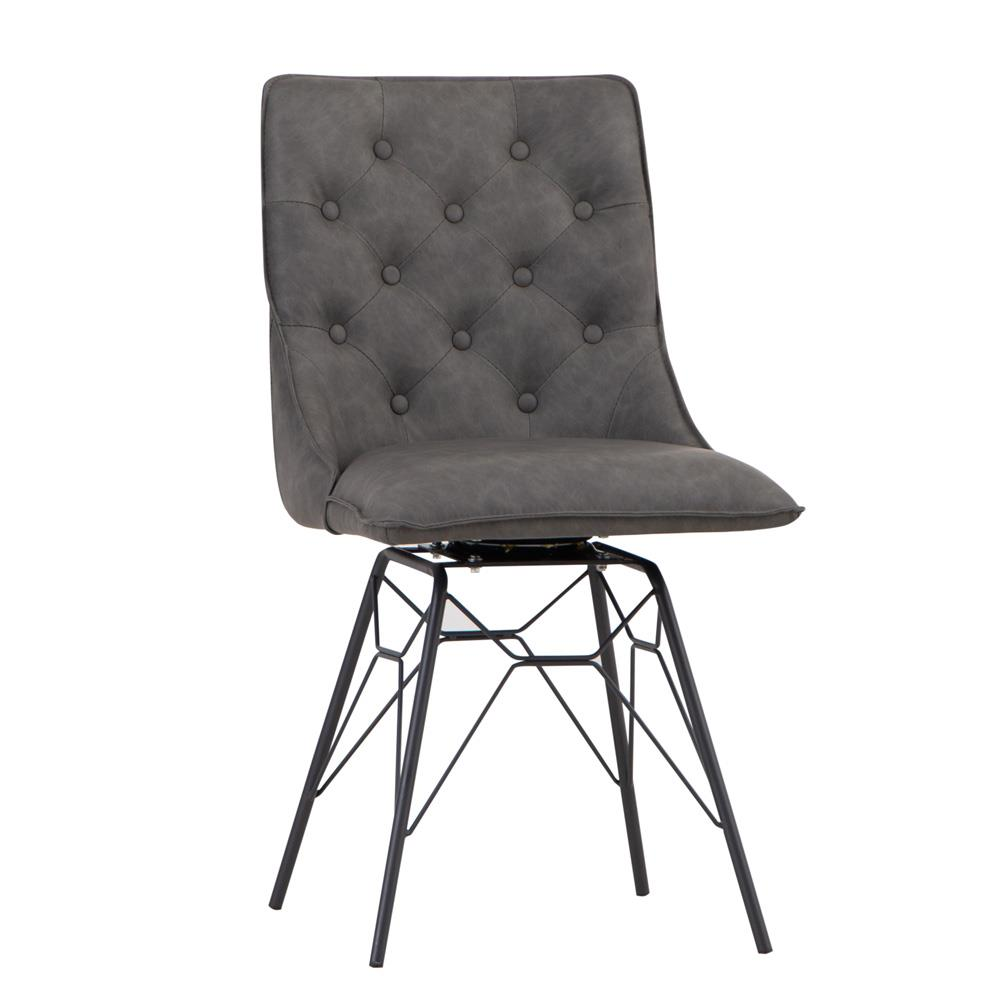 Studded Back Chair with Ornate Legs - Grey