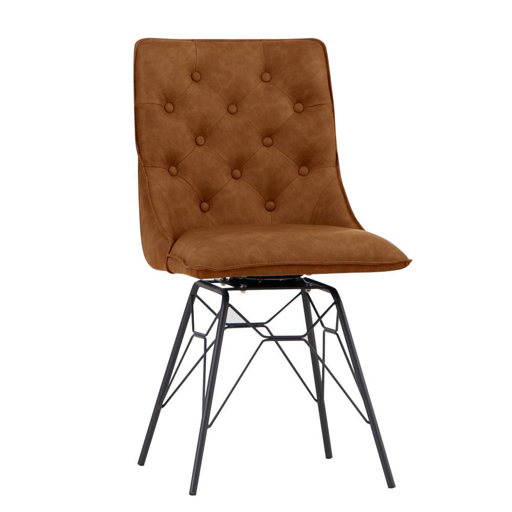 Studded Back Chair with Ornate Legs - Tan