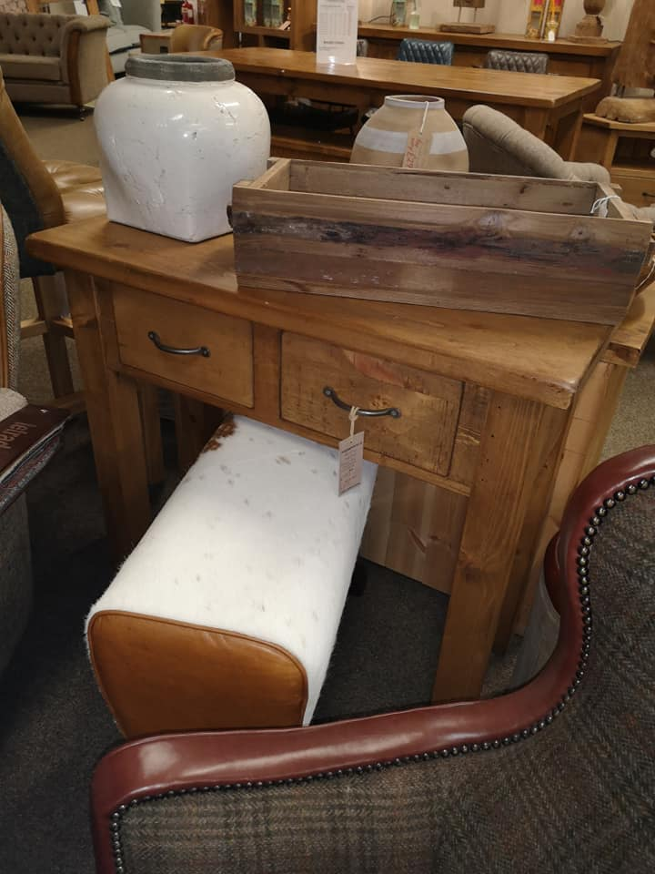 RUSTIC Small 2 Drawer Console Table - 900mm Wide