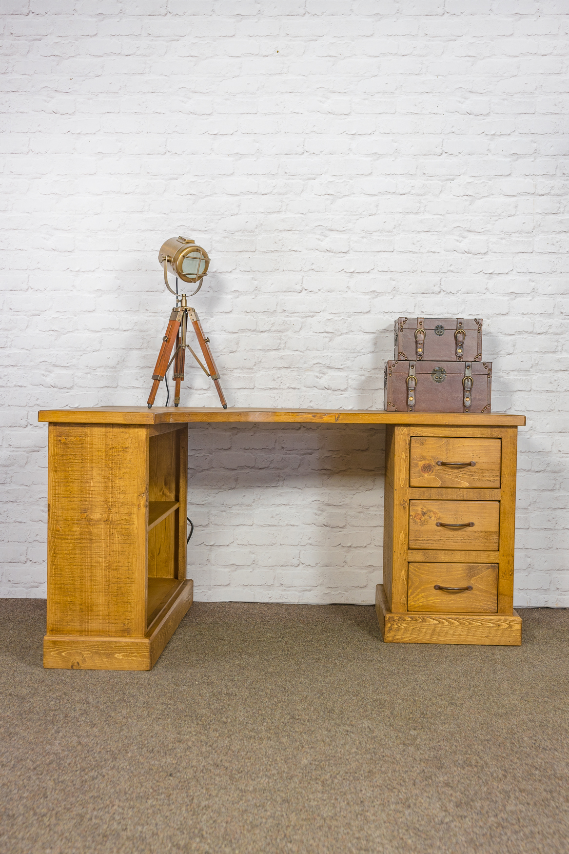 RUSTIC Corner Desk with Bookcase and 3 Drawers