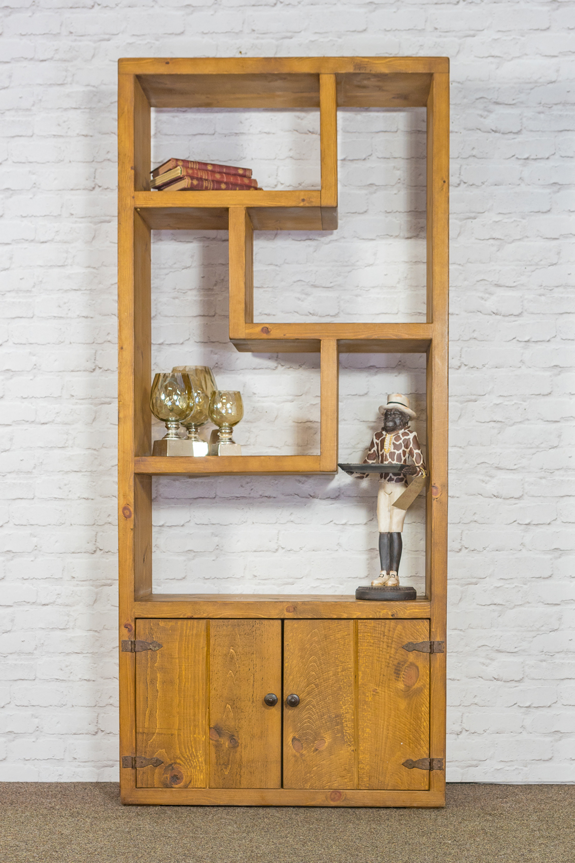 RUSTIC Tall Zig Zag Bookcase with 2 Door Cupboard - 900mm Wide