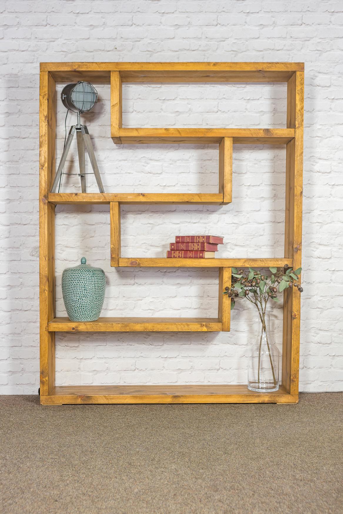RUSTIC Tall Zig Zag Bookcase - 1830mm Wide