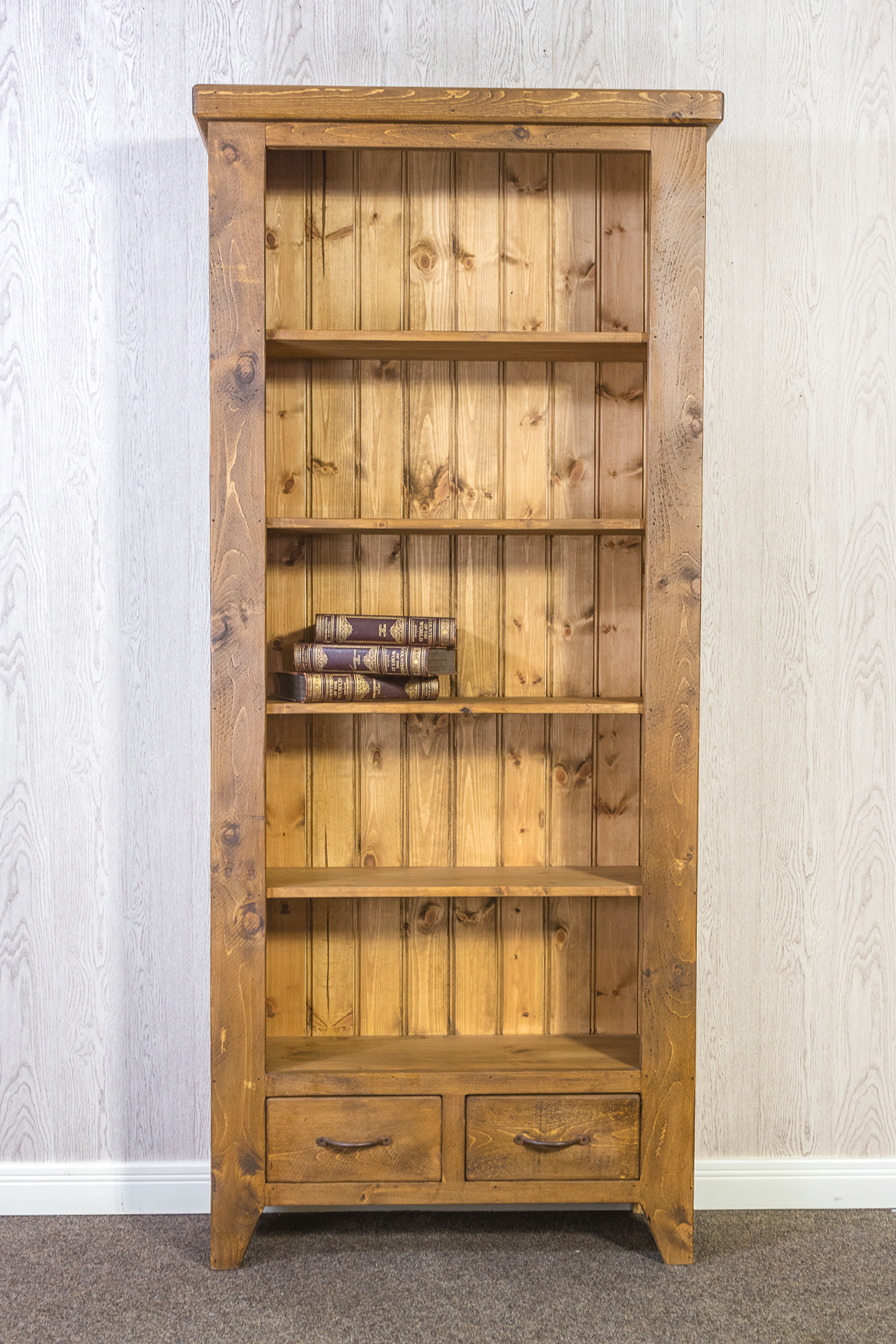 RUSTIC Tall Open Bookcase with 2 Drawers - 1000mm Wide