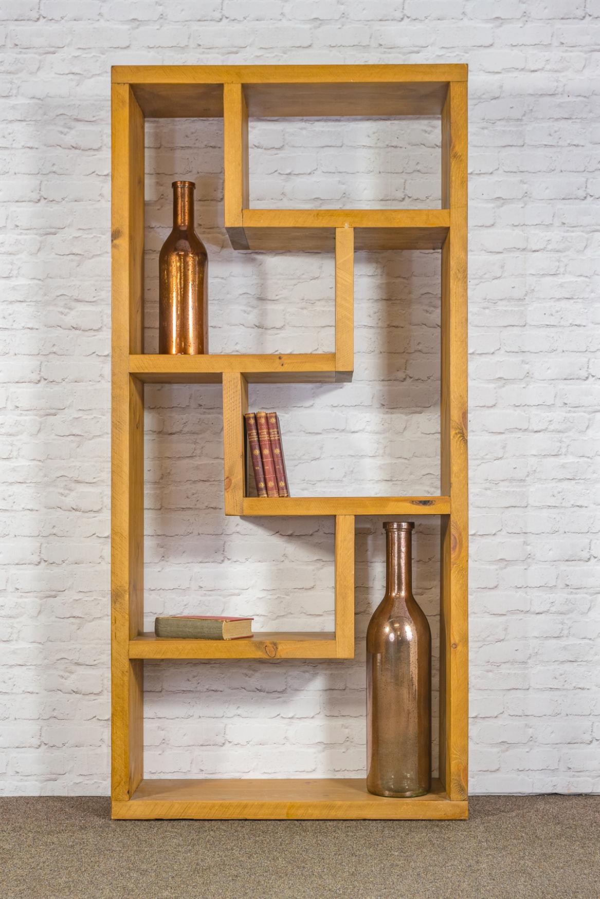 RUSTIC Tall Zig Zag Bookcase - 900mm Wide