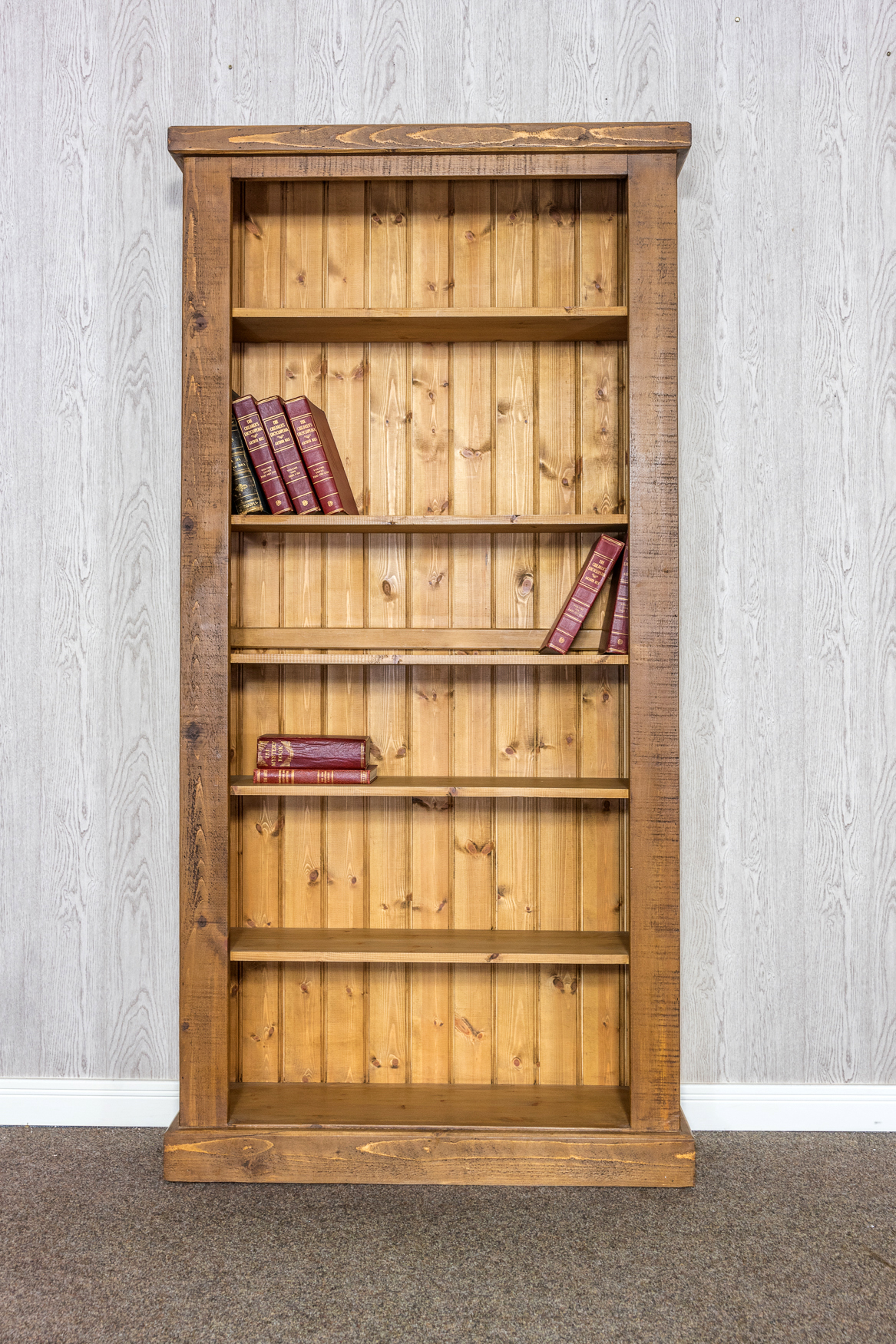 RUSTIC Tall Open Bookcase -  1000mm Wide