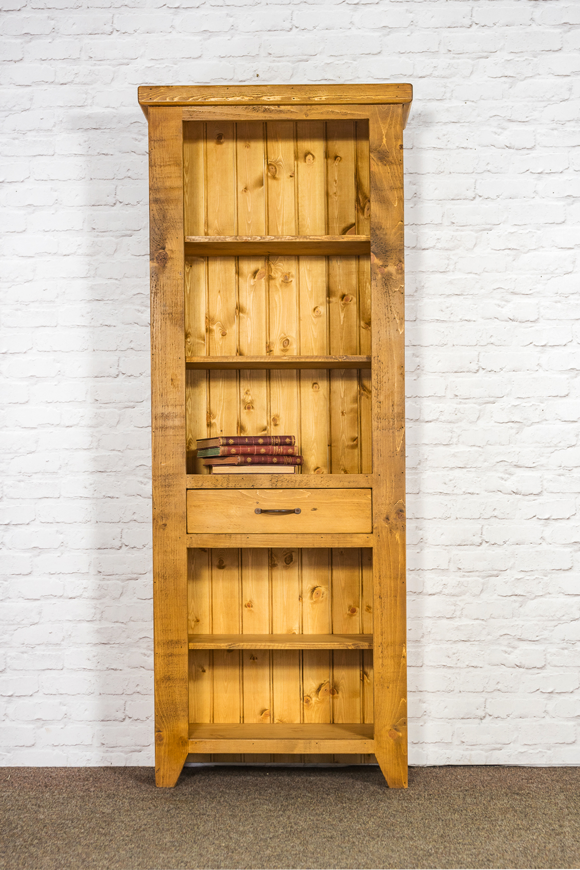 RUSTIC Tall Open Bookcase with 1 Drawer - 750mm Wide