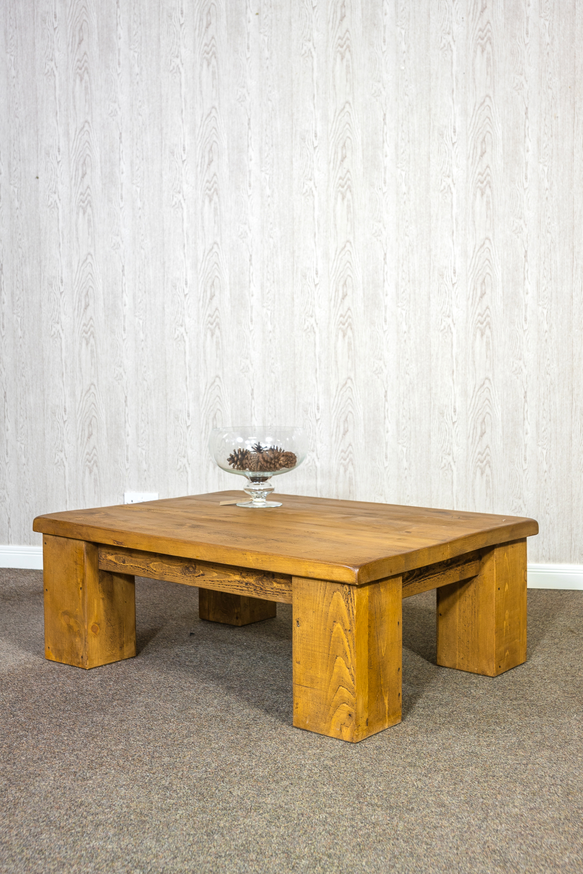 """RUSTIC Coffee Table - 1200mm Wide with Ox 8"""" Leg 2"""" Top"""