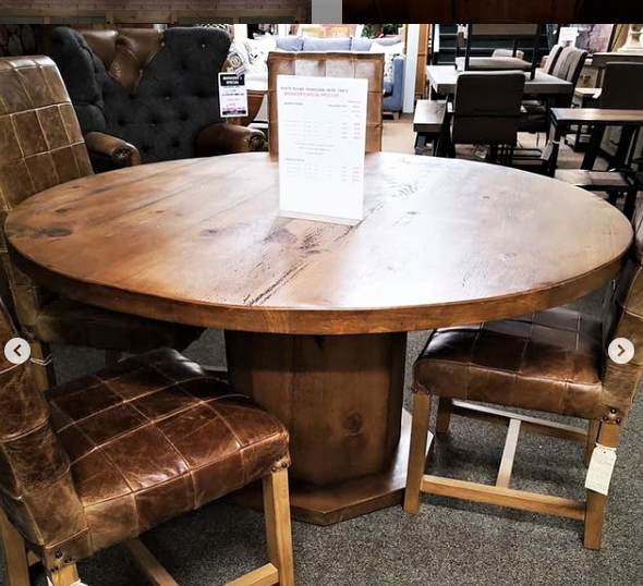 """RUSTIC 1200mm Hex Base Round Dining Table 2"""" Top"""