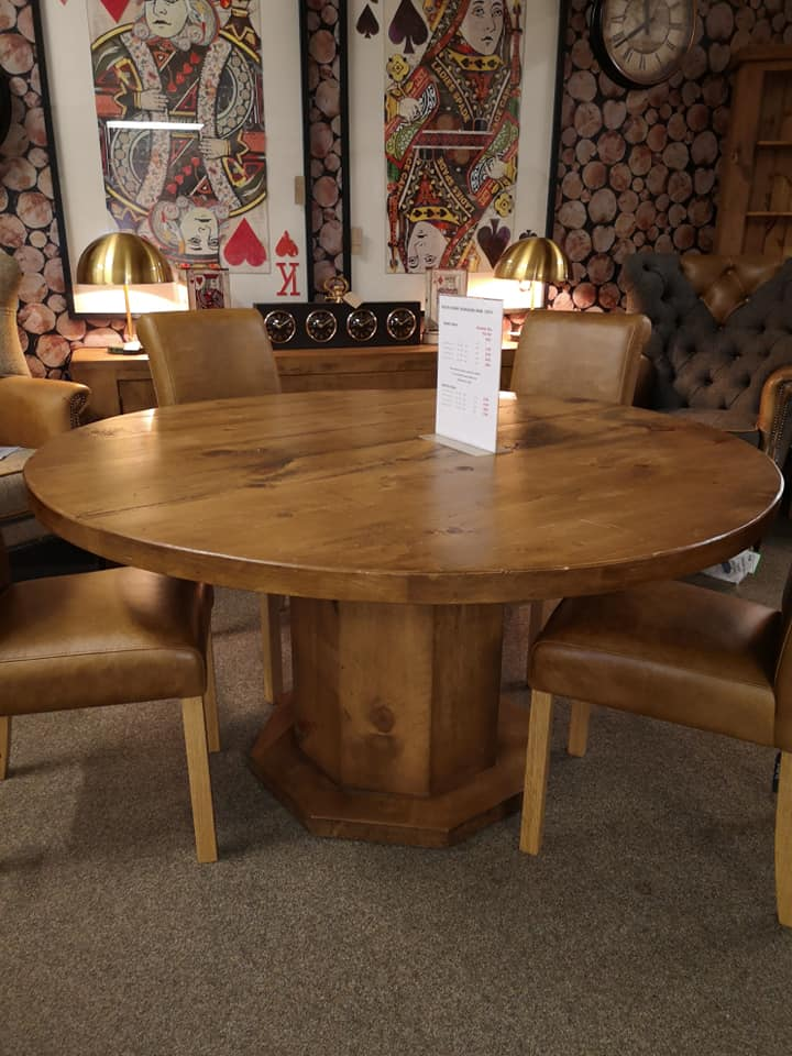 """RUSTIC 1500mm Hex Round Dining Table 2"""" Top"""