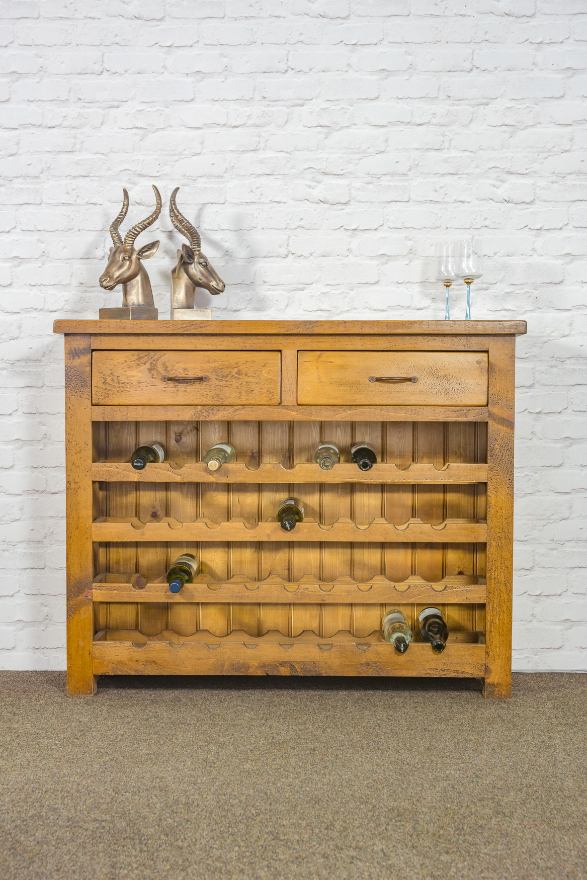 RUSTIC Wine Rack With 2 Drawers