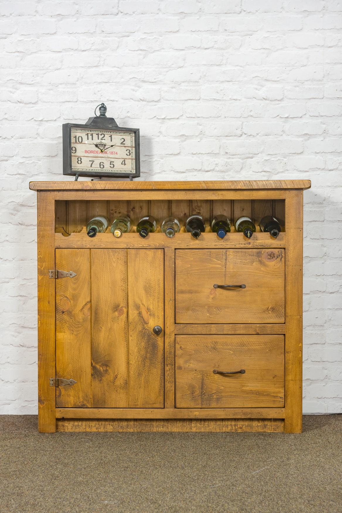 RUSTIC Wine Rack With 1 Door 2 Drawers