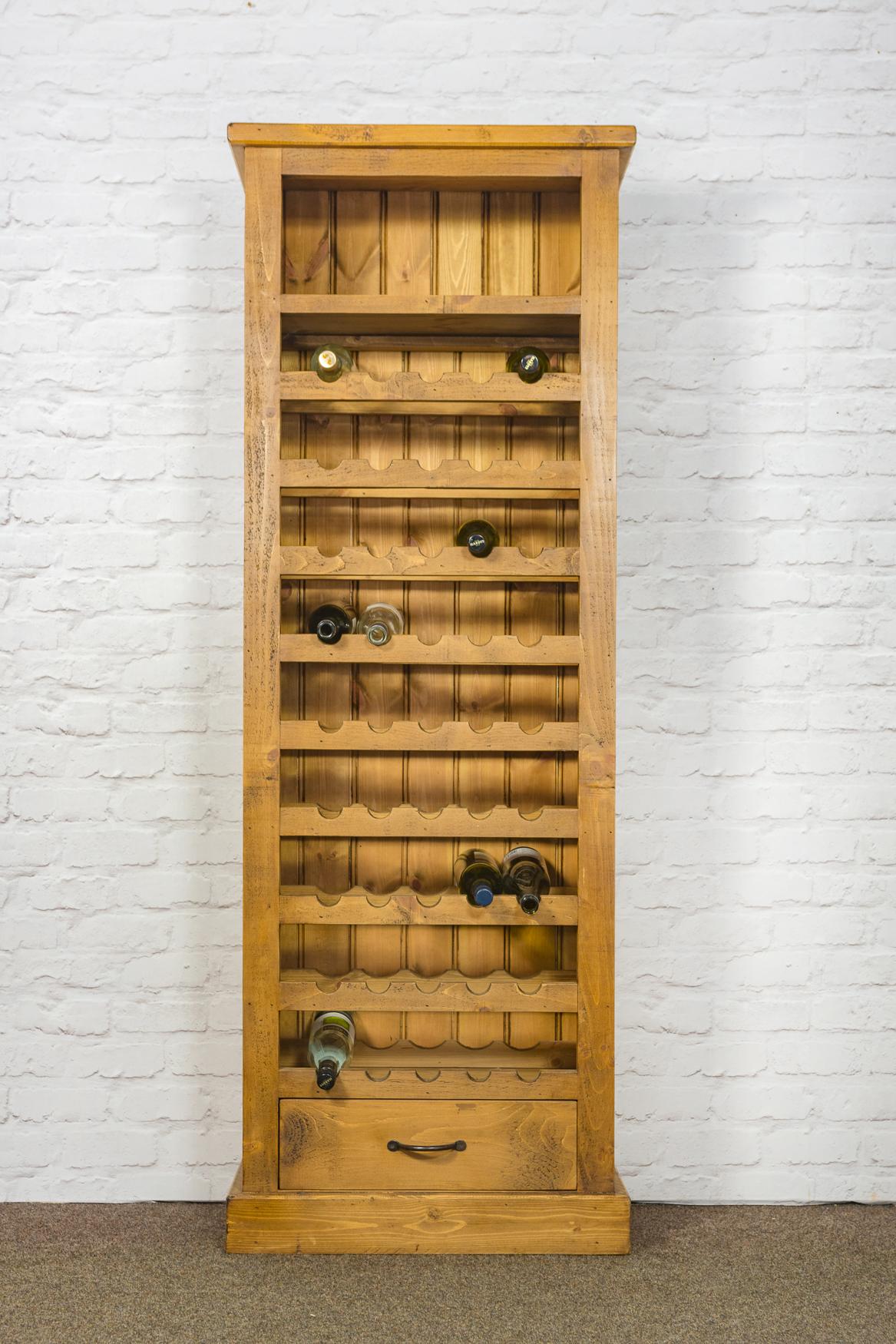RUSTIC Tall Indigo Wine Rack with 1 Drawer