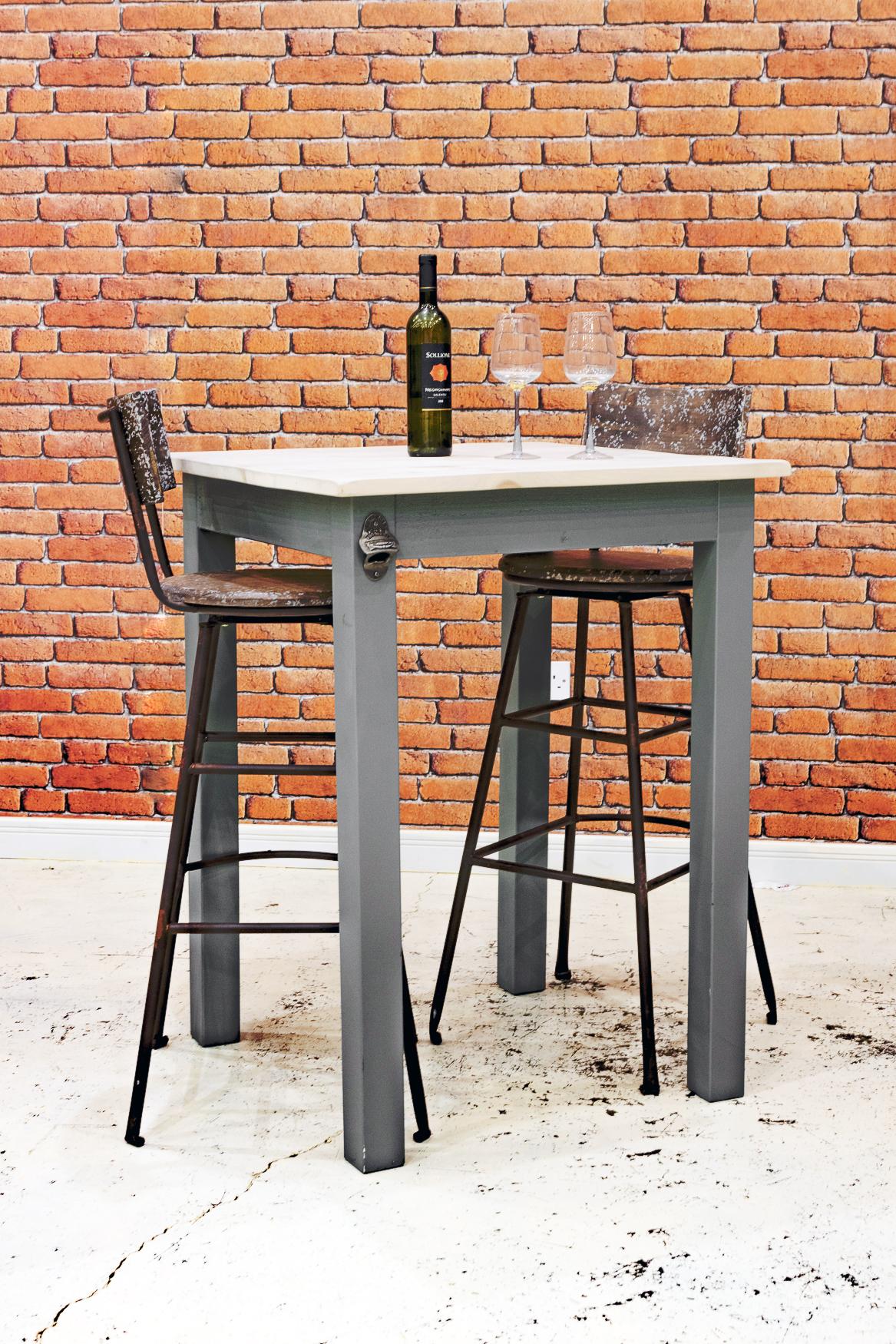 "RUSTIC 750mm Café Bar Dining Table  ""1 Top 3"" Leg"