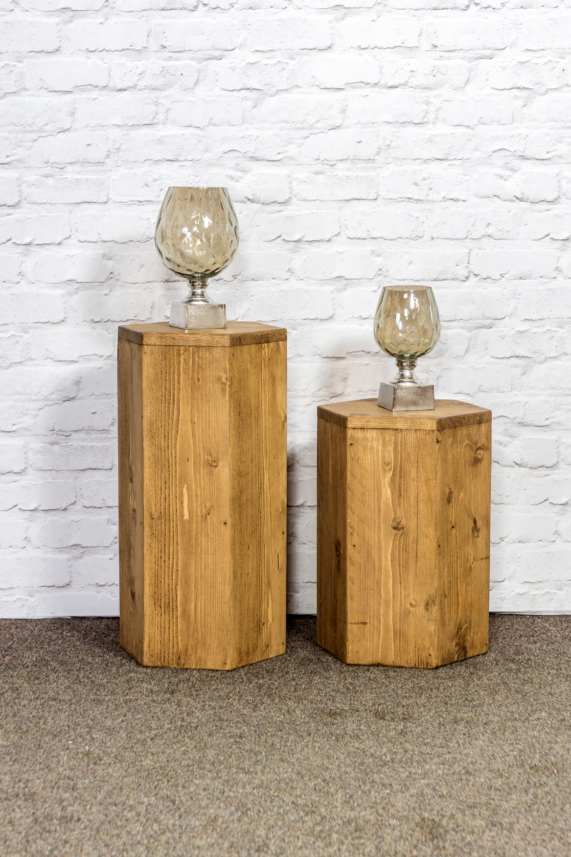 RUSTIC Hex Set Of 2 Side Tables