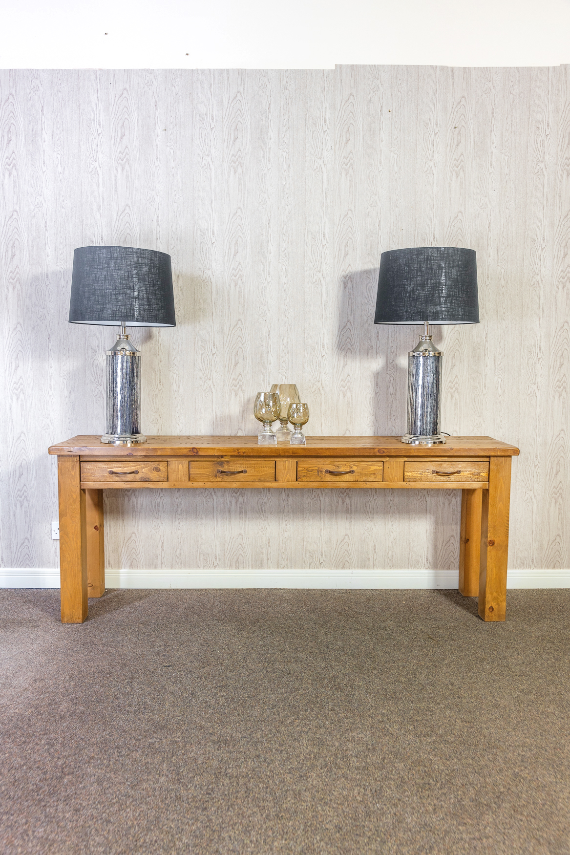 RUSTIC Large 4 Drawer Console Table