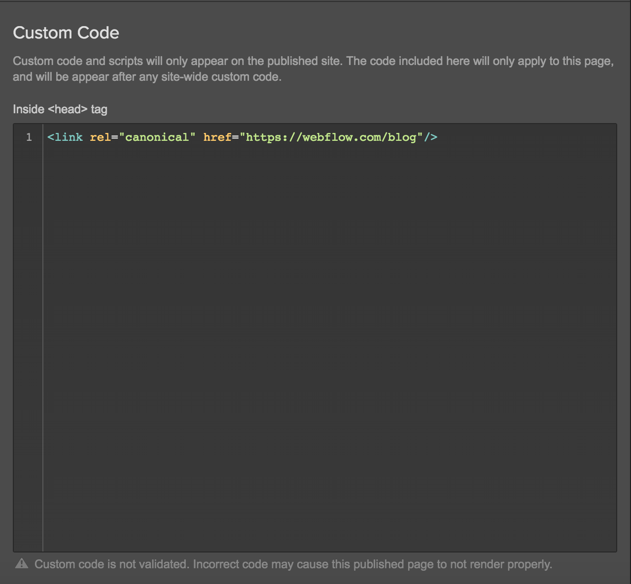 Define static pages as canonical with Webflow's custom code editor
