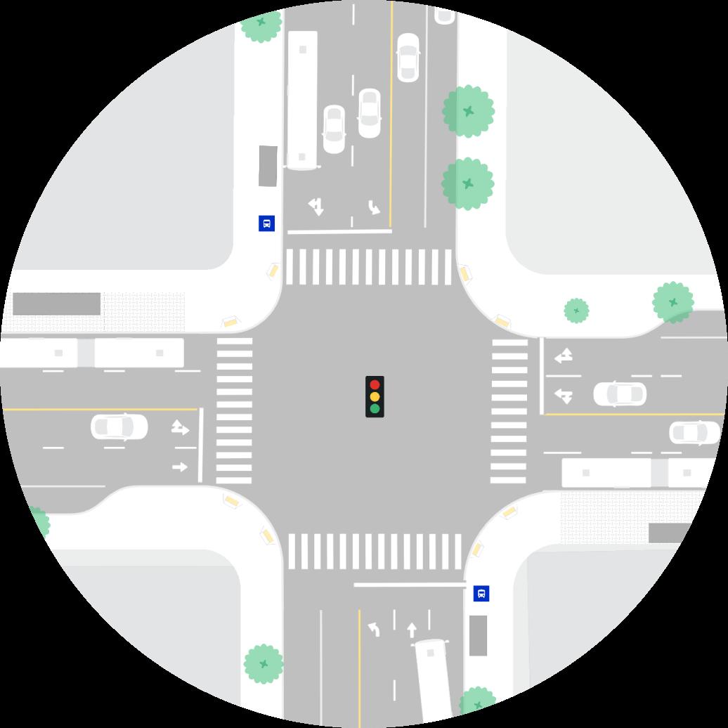 intersecção das ruas