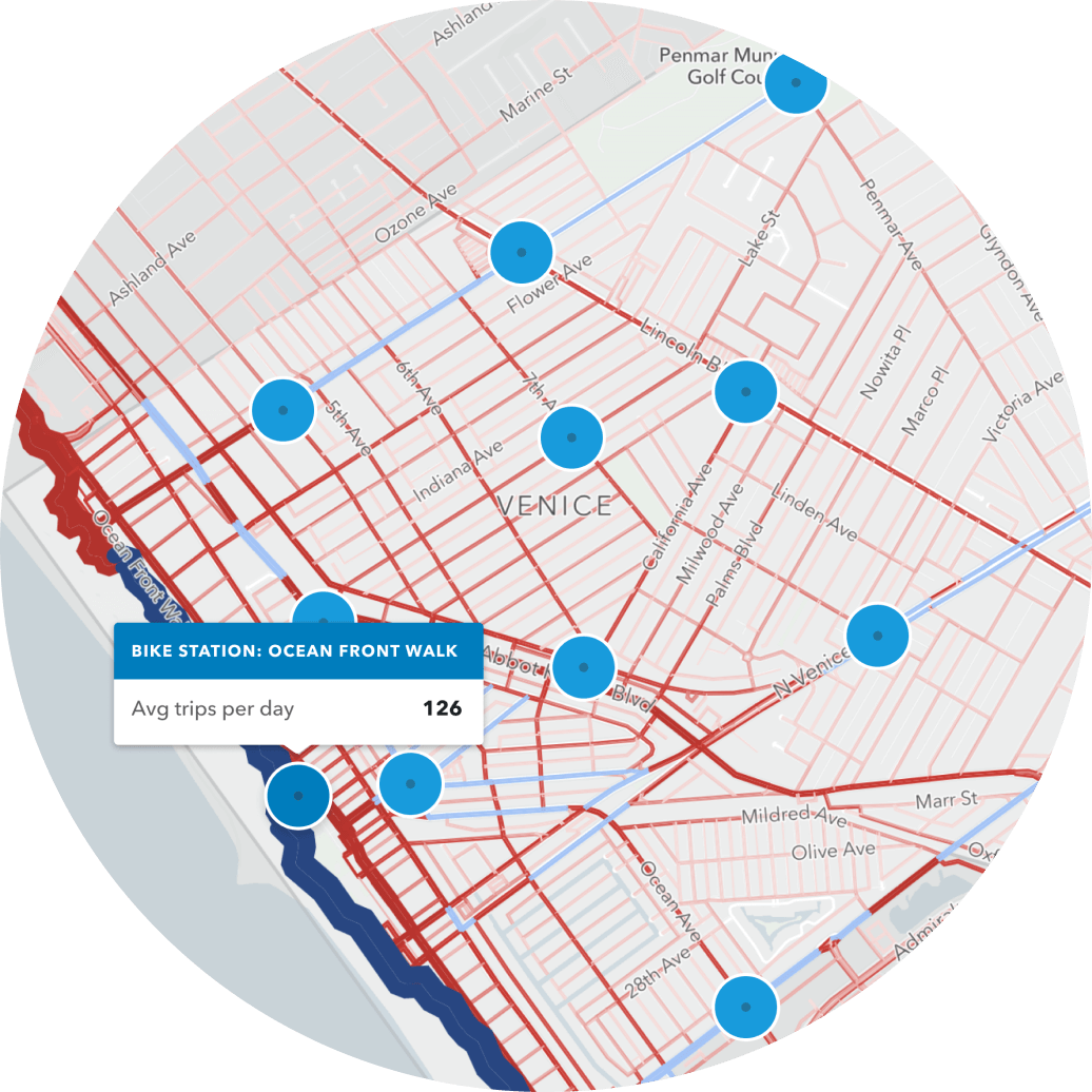 streets and shared mobility map