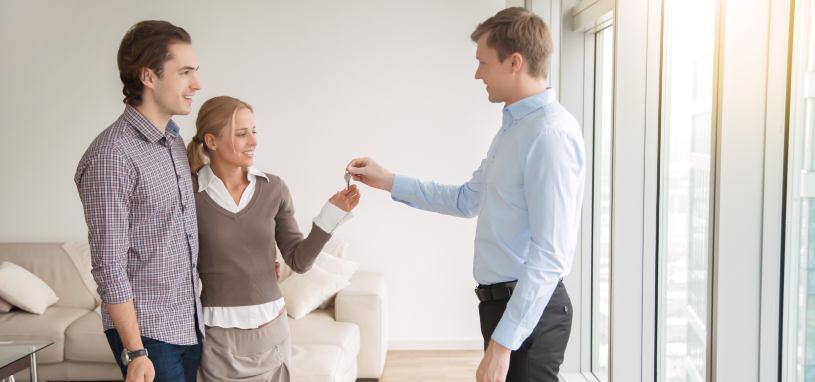 tenants receiving keys to property