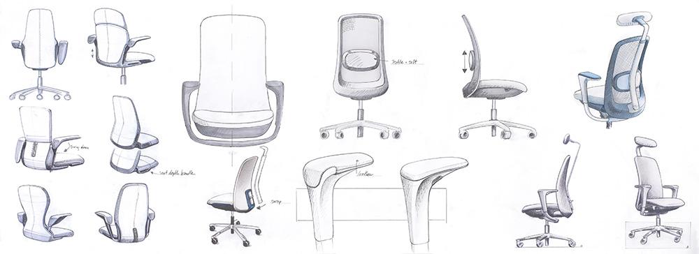 Designskisser til HÅG SoFi