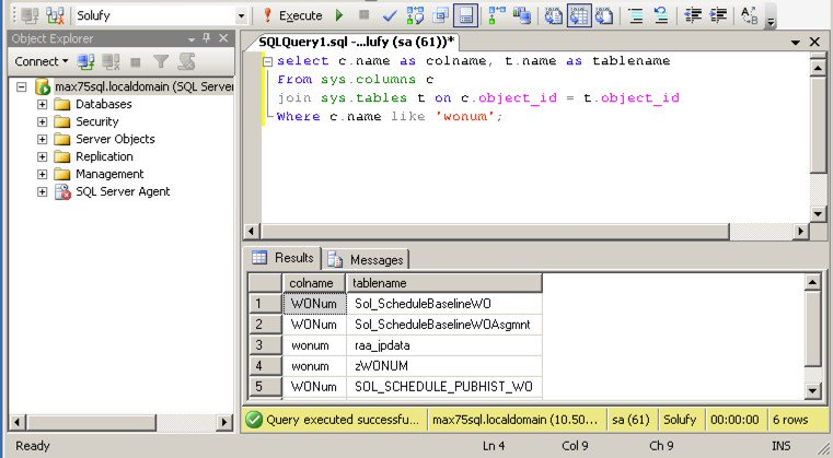 Find Columns in All Tables With This Maximo SQL Script