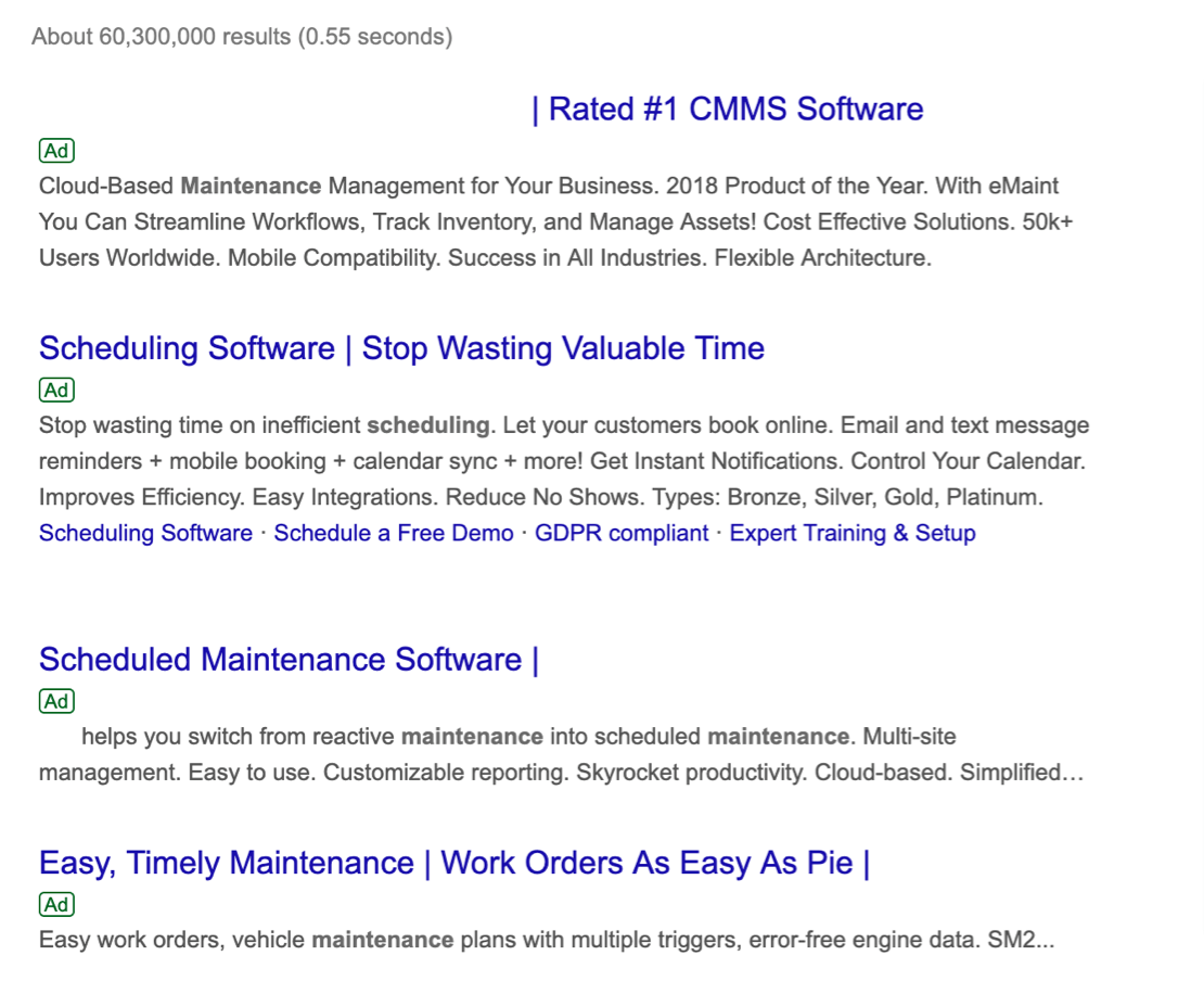 maintenance scheduling software search results