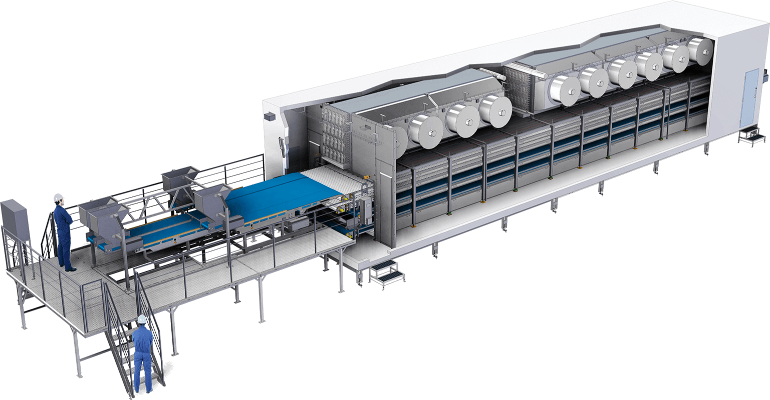 Ideal for freezing fish or meats for optimal yield, quality and shape. Multiple levels of conveyors, runs throughout the week without complete defrosting.
