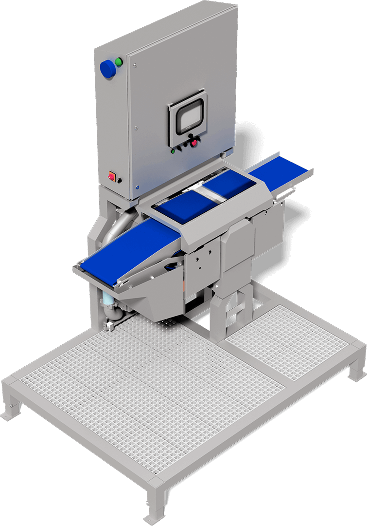 Advanced fish skinning machine, preserves texture of fillets, minimizes yield loss, handles up to 30 fillets per minute. Especially useful for delicate fish.
