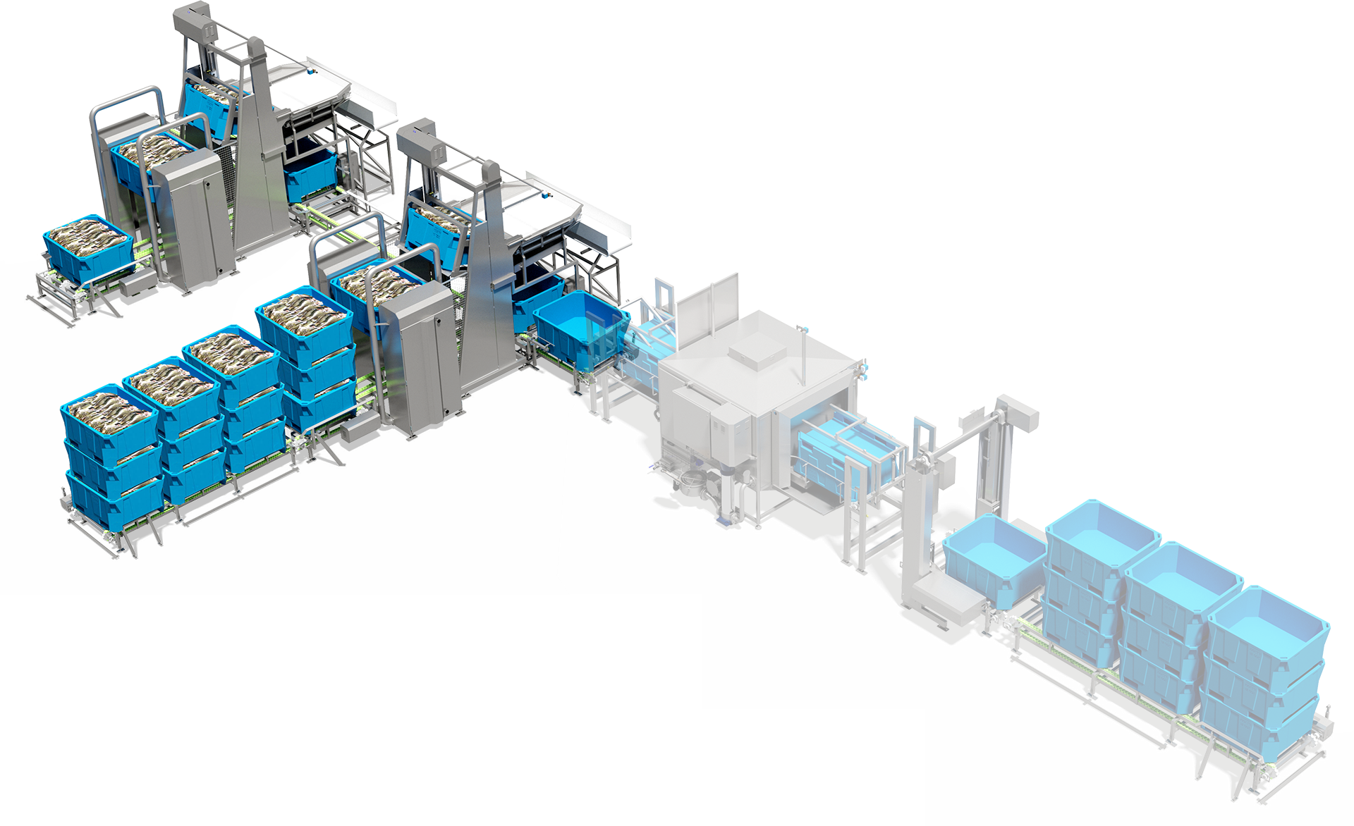 Customizable modules, standalone machines or complete systems: automatic infeed, gentle product handling, increased production flow, minimal need of forklifts.