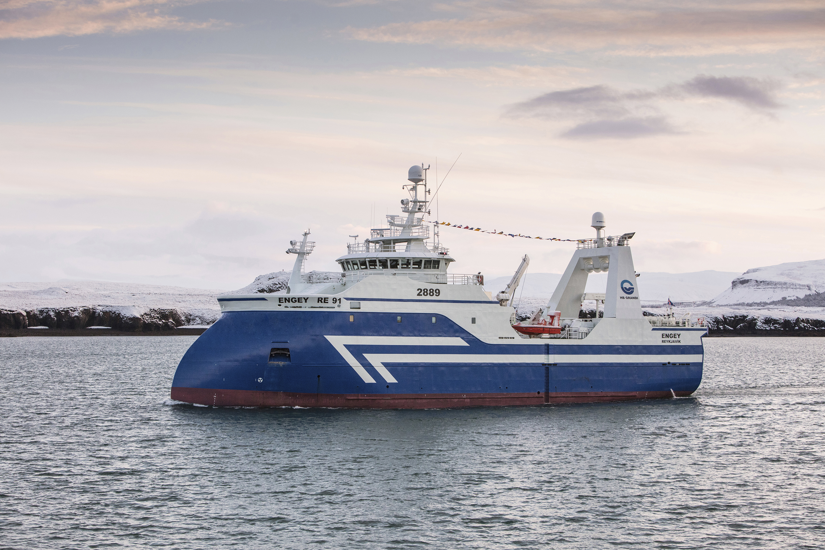 HB Grandi's Engey RE 91 arrived in Iceland from the Celiktrans shipyard in Istanbul. Skaginn 3X to provide fully automatic fish holding and processing deck.