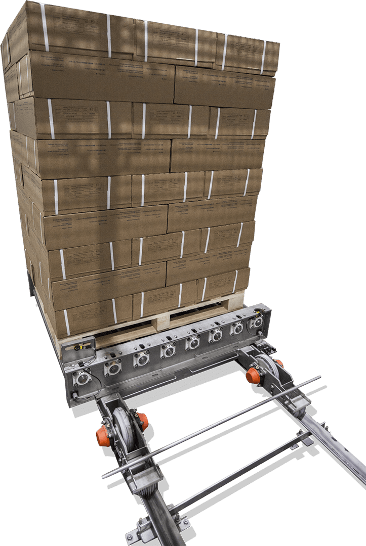 Automated packaging and palletizing solutions for bulk production in food processing. Custom systems, can pack and palletize 1,000 tons of product per 24 hours.