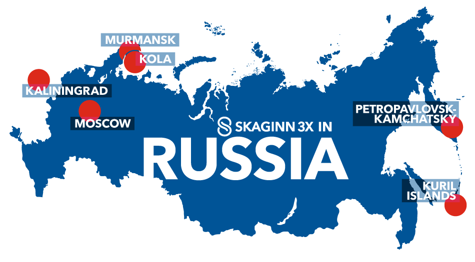 Map of all Skaginn 3X their activities in Russia