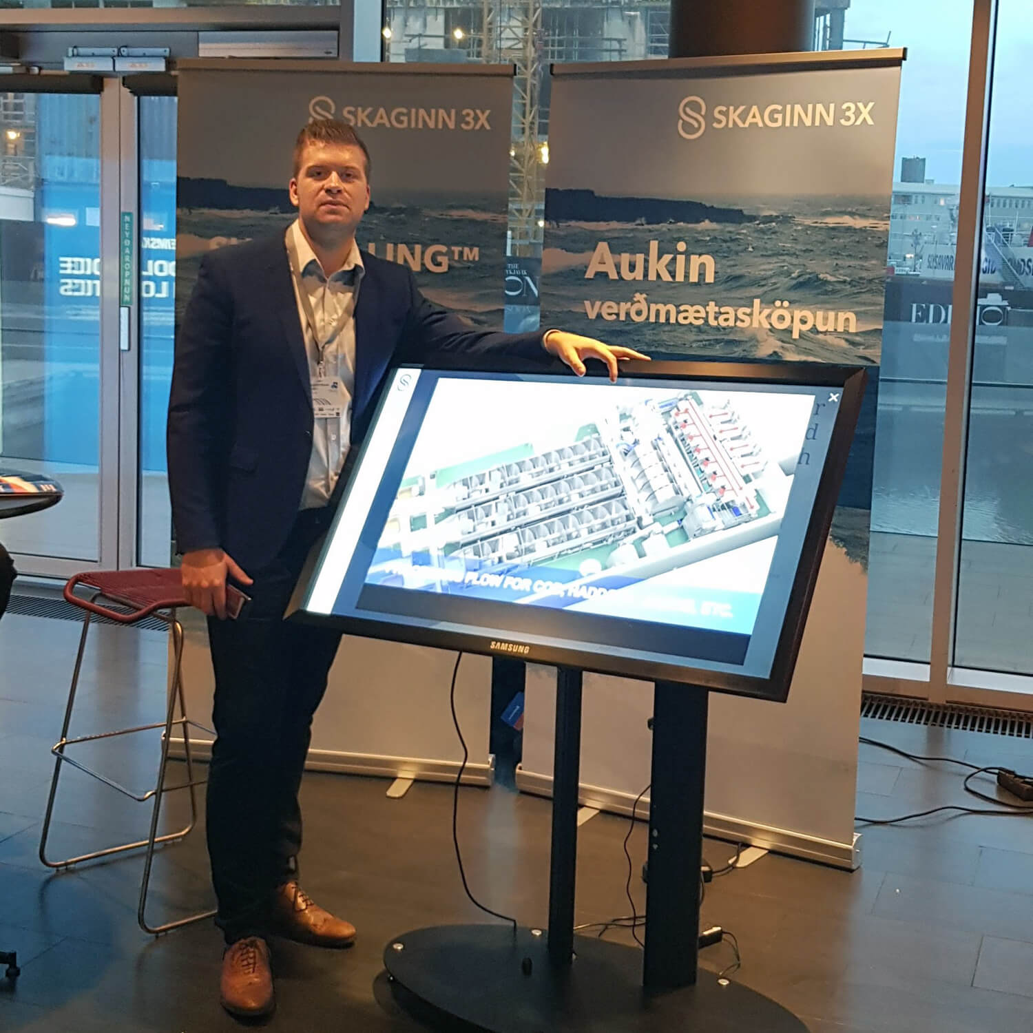 "Freysteinn Nonni Mánason presenting a brief info session on one of the largest product updates Skaginn 3X has undertaken: the 16"" ValuePump™."