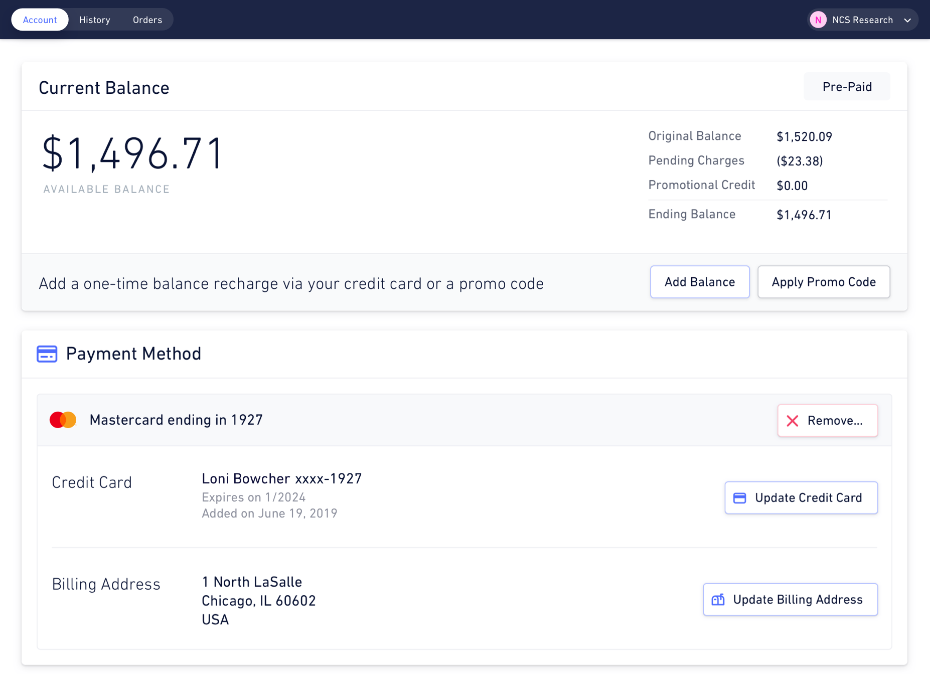 Illustration of the Hologram Dashboard — account management