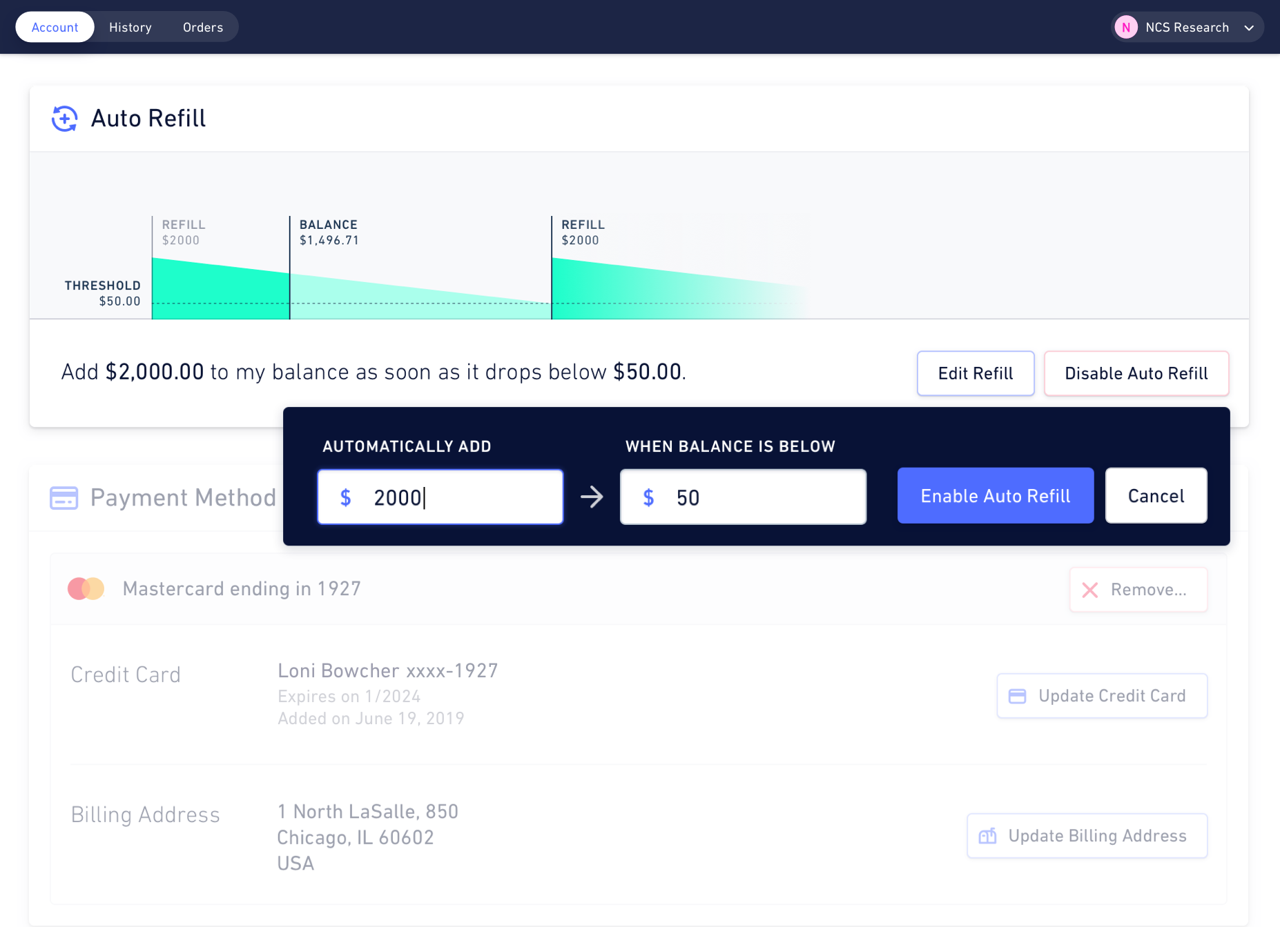 Illustration of the Hologram Dashboard — autorefill