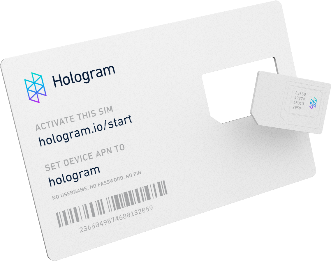 Back of the Hologram global IoT SIM card
