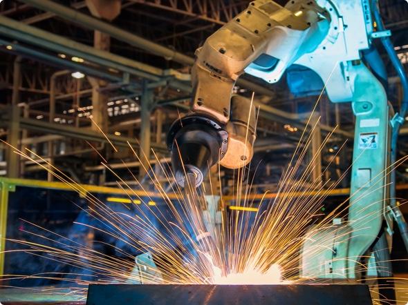 photo of a autonmous welding robot