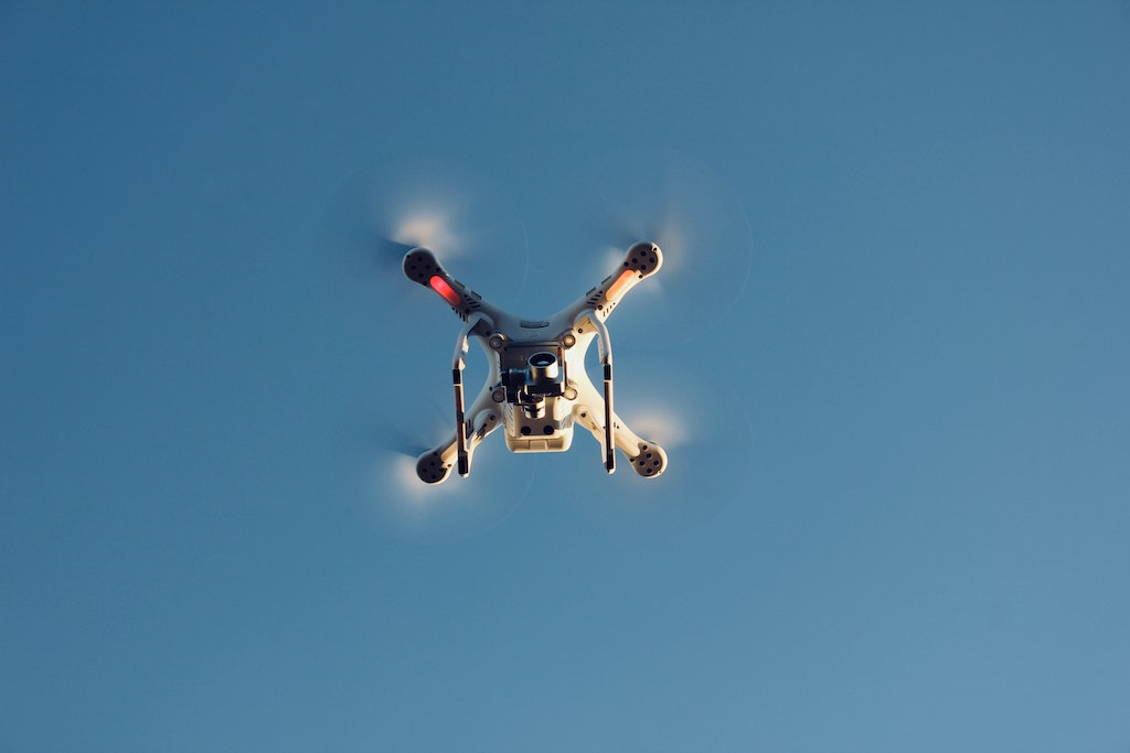 photo of drone flying above
