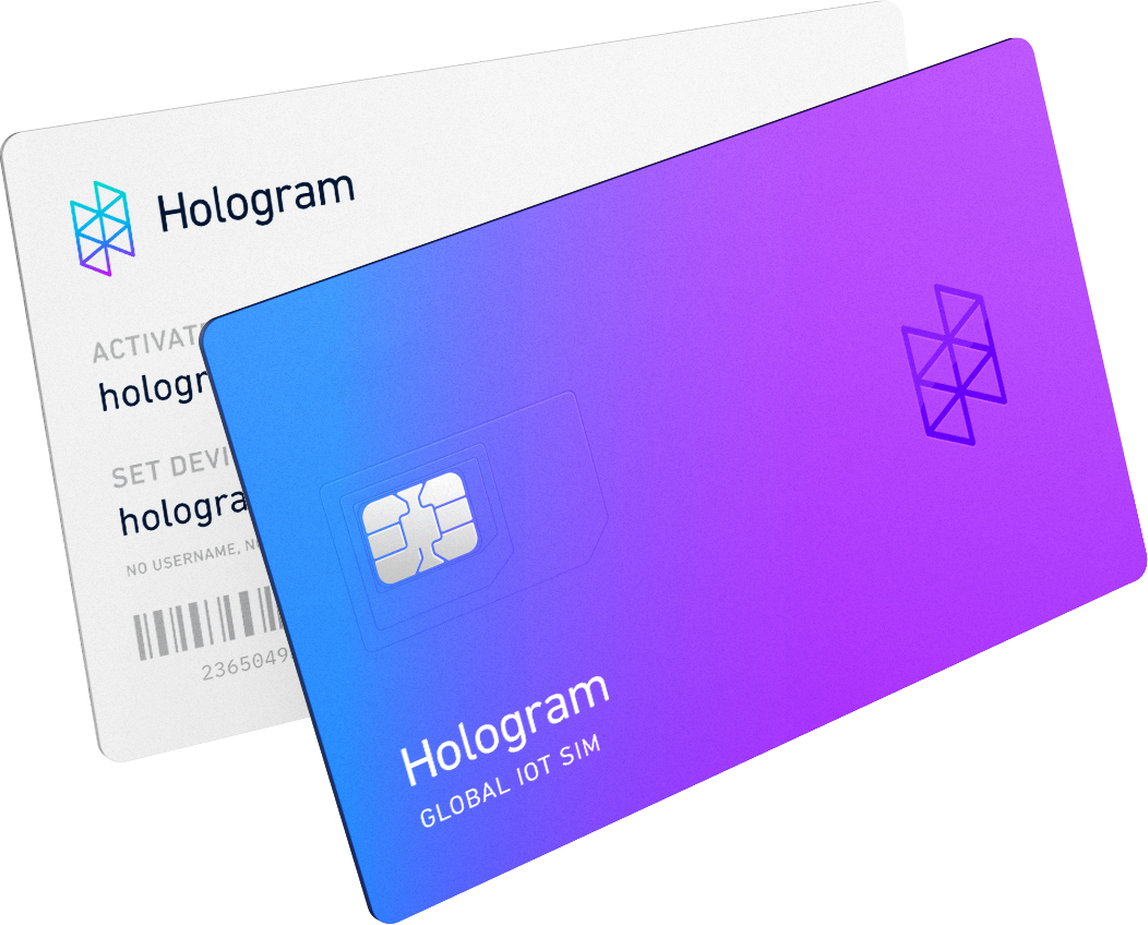 Illustration showing the front and back of a Hologram SIM card.