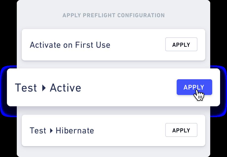 UI of Preflight's configuration