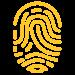 Security icon, yellow fingerprint