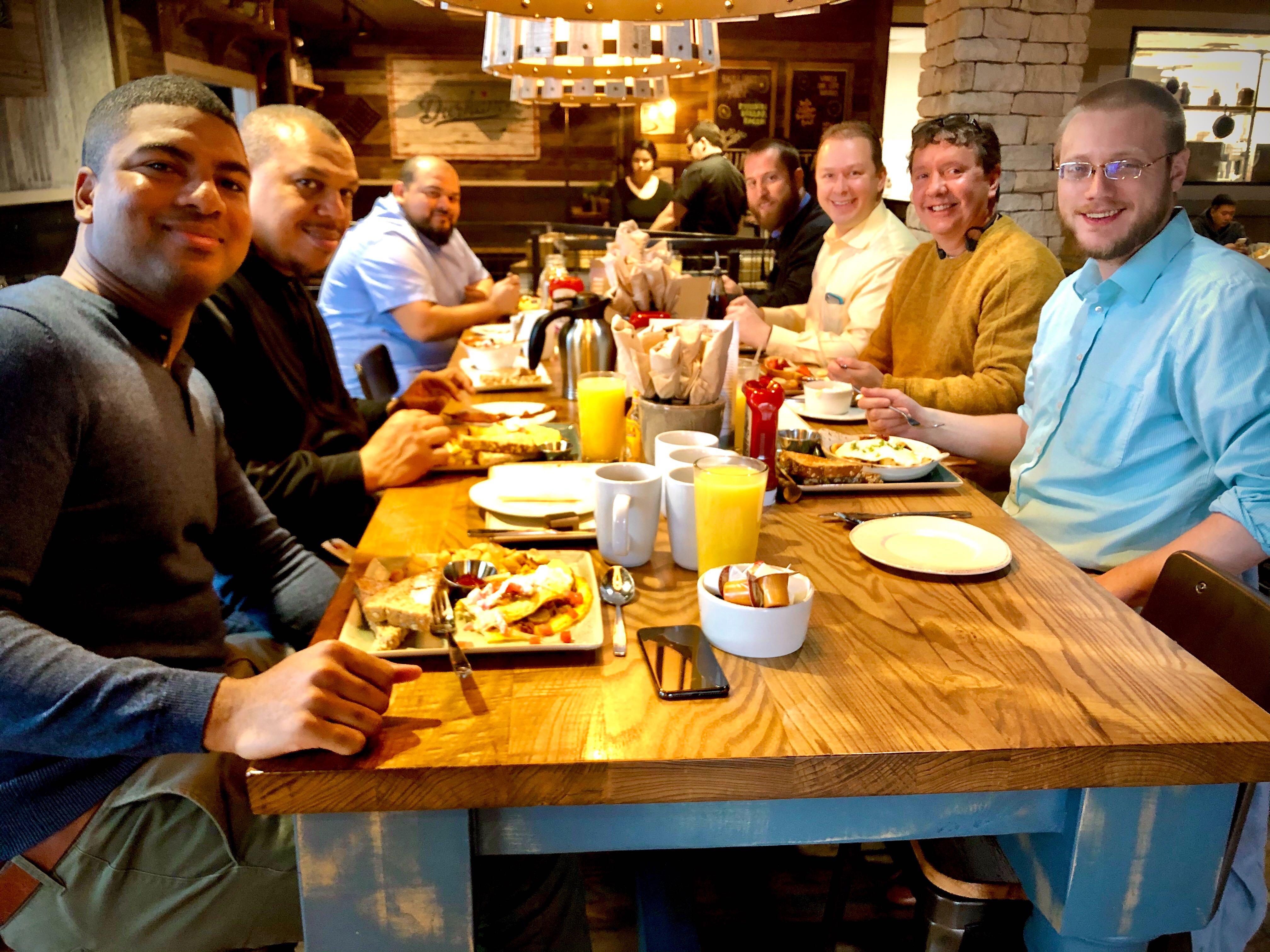 Net Friends managed IT support team having a team breakfast