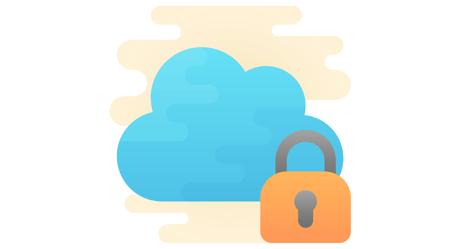 Cartoon cloud with a padlock