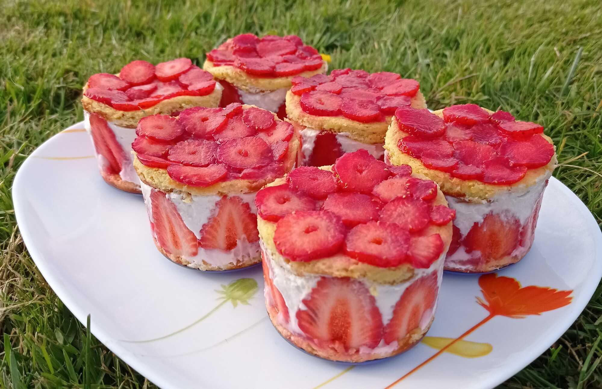 Sur un large plat ovale blanc, sont disposés six petits fraisiers. Des fraises découpées en fines rondelles sont réparties sur le dessus.